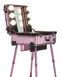 get ations studio makeup case w lights mirror legs pink bling