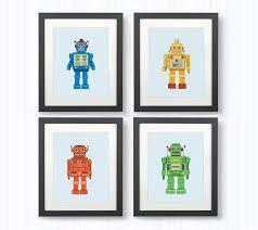 kids bedroom or nursery decor robot prints on robot nursery wall art with kids bedroom or nursery decor robot prints felt
