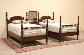 Pineapple Bedroom Furniture Sold Pair 1930s Twin Size Mahogany Pineapple Poster Beds Harp