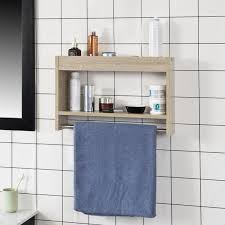 so wood wall bathroom shelf storage display towel rail rack unit frg240