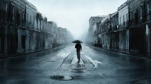 sad man with umbrella walking in a lonely street digital art artwork hd wallpapers high definition