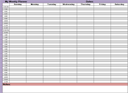 daily hourly calendar weekly hourly planner template