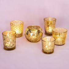 best of show gold mercury glass candle holders set of 6 luna bazaar gold mercury glass candle holders