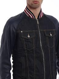 dsquared2 denim leather sleeve er jacket