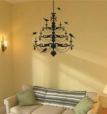 wall decal bird chandelier