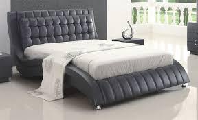 black or white furniture. Tufted Black Or White Leather Modern Platform Bed On Chrome Legs Furniture