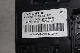 2007 chevy bu pontiac g6 fuse box body control module bcm 15941000
