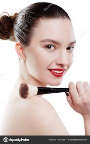 beauty woman with makeup brush isolated on white background make up for brunette model with brown eyes beautiful face