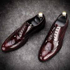<b>Leather</b> Brogues Fashionable Formal <b>Mens</b> Grooms <b>Shoes</b> Wine Red