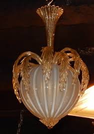 1950 70 chandelier murano crystal and gold inclusion pineapple form by barovier i toso
