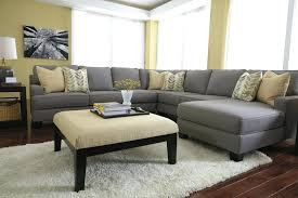 ... U Shaped Sectional Couches Furniture Grey Sofa With Nice Ottoman And  Rug Throughout Leather Small L