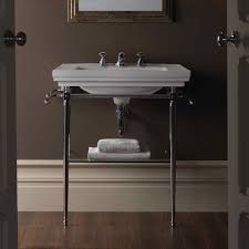 chrome console sink with legs bathroom reno consoles