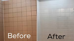 refinishing ceramic tile in my bathroom before and after