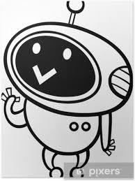 Poster Fumetto Da Colorare Robot Kawaii