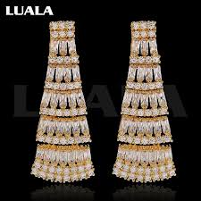 luala elegant chandelier shape figure earring cz diamond long big bridal earrings for women wedding jewelry e0031
