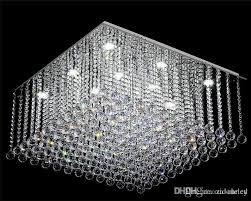 contemporary square crystal chandelier k9 crystal rain drop luxury flush mount led crystal light res de cristal for living room crystal chandelier light