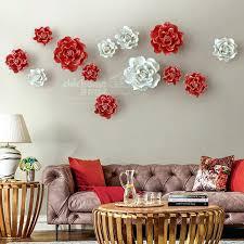 >3d ceramic flower wall art ceramic flowers wall art india best  hotel restaurant home decor ceramic flower wall hanging adornment white red bloom household background art