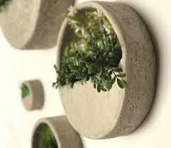 concrete round wall planter set