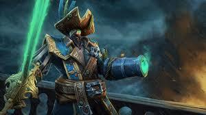 dota 2 heroes captain kunkka hat top sword green eye splash art
