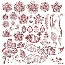 Fotografie Obraz Mehndi Henna Tattoo Flowers And Leaves Posterscz