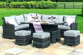 plastic outdoor dining set rattan new corner sofa with rising table grey weave white chairs plastic outdoor dining set wood top table