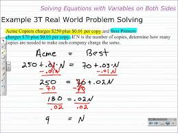 how to solve equations with variables on both sides algebra 1 help