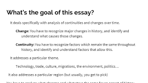 change continuity over time ccot essay ap world history ppt  what s the goal of this essay