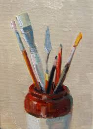 art supply jar still life oil on canvasboard 7x5 150