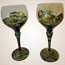 crystal wine glasses antique romania hand painted fired pair main street antiques and collectibles ruby lane