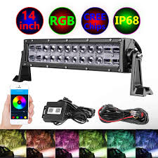 14 Inch Led Light Bar Rbg Led Light Bar Moso Led 14 Inch Cree Led Driving Light Multicolor Changing Light Chasing Halo Spot Flood Light Bar With Wiring Harness Bluetooth