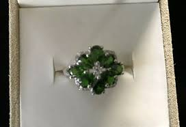 pear shaped russian chrome diopside and white topaz cer set in sterling ring noggrf5827 gemstone