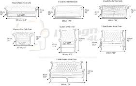 measurements of chesterfield furniture