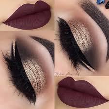 gold smokey eye dark plum lips makeup
