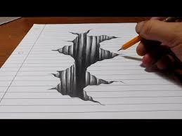 trick art on line paper drawing 3d hole you