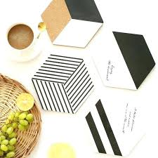 round wooden placemats table kitchen accessories decoration home cork black and white geometry coasters flowers wood