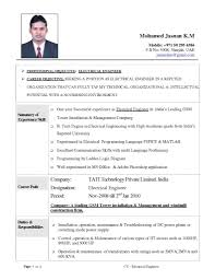 Civil Engineer Sampleme Format Electrical Fresher Entry Level Rf