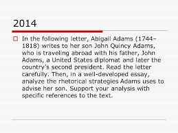 types of r a questions on the test  in the following letter  2014  in the following letter abigail adams 1744 1818 writes to
