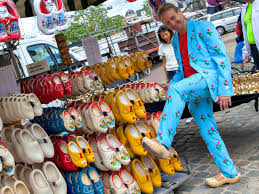 dutch clog booth at the market in gouda