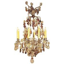 19th 20th century louis xv style 8 light silvered and color crystal chandelier