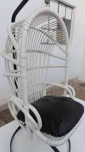 Iconic Sixties White Cane Parrot Hanging Chair With Metal Frame By.