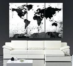 large 3 piece wall art large black white world map canvas print 3 piece watercolor splash