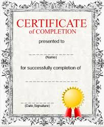 Templates For Certificates Of Completion Certificate Completion Template