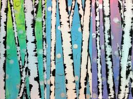 easy birch tree acrylic painting tutorial for beginners paint trees using a credit card and tape
