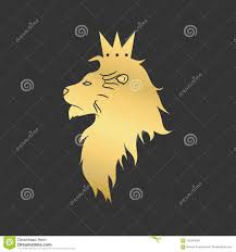 Gold Lion With A Crown. Logo Template. Vector Illustration. Stock