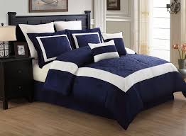 navy blue queen comforter. Delighful Blue 8 Piece Queen Luke Navy And White Embroidered Comforter Set In Comforters U0026  Sets  EBay For Blue