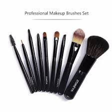 9pcs makeup brushes with patent leather bag