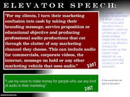 Elavator Speech Voxmarketising The Audioconnell Voice Over Talent Blog