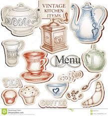 vintage kitchen utensils illustration.  Illustration In Vintage Kitchen Utensils Illustration