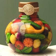Kitchen Decorative Filled Jars How to Fill a Bottle With Fruit and Vegetables in Oil for 7