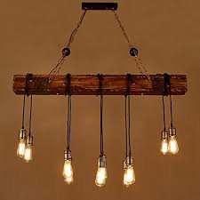 jiuzhuo farmhouse style dark distressed wood beam large linear island pendant light 10 light chandelier lighting hanging ceiling fixture wall s furniture